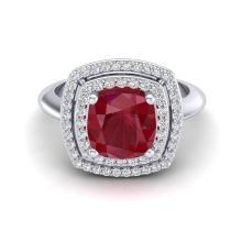 2.52 CTW Ruby & Micro VS/SI Diamond Certified Pave Halo Ring 18K Gold - 20766-REF-74Z5K