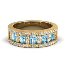 2 CTW Topaz & Micro Pave VS/SI Diamond Designer Inspired Band Ring Gold - 20820-REF-60X4H