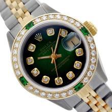 Rolex Men's Two Tone 14K Gold/SS, QuickSet, Diam Dial & Diam/Emerald Bezel - REF-474Z5Y