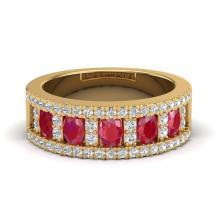 2.34 CTW Ruby & Micro Pave VS/SI Diamond Designer Inspired B& Ring Gold - 20827-REF-61Y8V
