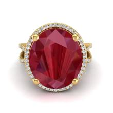 12 CTW Ruby & Micro Pave VS/SI Diamond Certified Halo Ring 18K Gold - 20966-REF-143F6X