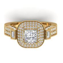 2.85 CTW Princess VS/SI Diamond Art Deco Micro Halo Ring 18K Size 7 Gold - 32704-REF-591N5Y