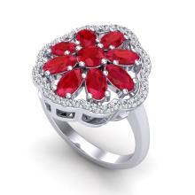 4 CTW Ruby & VS/SI Diamond Certified Cluster Designer Halo Ring Gold - 20784-REF-63Z8K