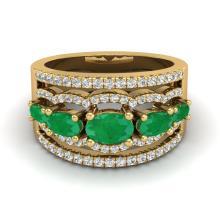 2.25 CTW Emerald & Micro Pave VS/SI Diamond Certified Designer Ring Gold - 20801-REF-71V3F