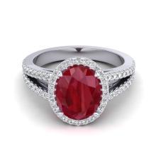3 CTW Ruby & Micro Pave VS/SI Diamond Halo Solitaire Bridal Ring 18K Gold - 20947-REF-78V2F