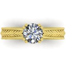 1.06 CTW Solitaite Certified VS/SI Diamond Ring 18K Art Deco Gold - 32836-REF-310X5H