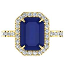 5.33 CTW Sapphire And Micro Pave VS/SI Diamond Halo Ring 18K Gold - 21435-REF-74K2W