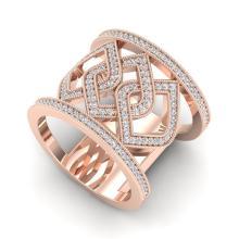 0.90 CTW Ring Micro Pave VS/SI Diamond Certified Designer Modern 14K Gold - 20879-REF-90X2H