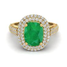 3.50 CTW Emerald & Micro Pave VS/SI Diamond Certified Halo Ring 18K Gold - 20718-REF-115N3Y