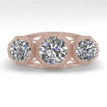 2 CTW Past Present Future VS/SI Diamond Ring 14K Rose Art Deco Gold - 29852-REF-400N7Y