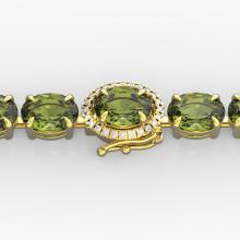 27 CTW Green Tourmaline & VS/SI Diamond Tennis Micro Halo Bracelet Gold - 23430-REF-243R5N