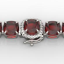 35 CTW Garnet & Micro VS/SI Diamond Halo Designer Bracelet 14K Gold - 23309-REF-134K2W