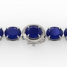 76 CTW Sapphire & Micro Pave VS/SI Diamond Halo Bracelet 14K White Gold - 22277-REF-317R3N