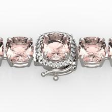 35 CTW Morganite & Micro Pave VS/SI Diamond Halo Bracelet 14K White Gold - 23315-REF-494V4F