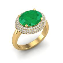 4.50 CTW Emerald & Micro Pave VS/SI Diamond Certified Ring 18K Gold - REF-119K6R - 20914