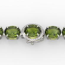 65 CTW Green Tourmaline & Micro VS/SI Diamond Halo Bracelet 14K Gold - REF-593N8A - 22263