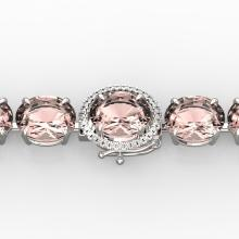 67 CTW Morganite & Micro Pave VS/SI Diamond Halo Bracelet 14K White Gold - REF-763X6Y - 22269