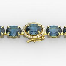 19.25 CTW London Blue Topaz & VS/SI Diamond Tennis Micro Halo Bracelet  Gold - REF-116W4H - 40254