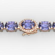 32 CTW Tanzanite & VS/SI Diamond Eternity Micro Halo Bracelet 14K Gold - REF-328M9F - 23441