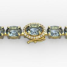 15.25 CTW Aquamarine & VS/SI Diamond Eternity Tennis Micro Halo Bracelet Gold - REF-176X4Y - 40223
