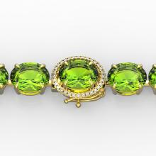 67 CTW Peridot & Micro Pave VS/SI Diamond Halo Bracelet 14K Yellow Gold - REF-428H7W - 22271