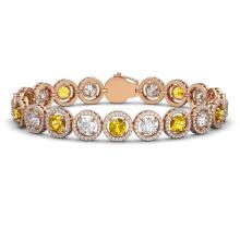 13.76 CTW Canary Yellow & White Diamond Designer Bracelet 18K Rose Gold - REF-1948M4H - 42600
