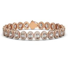 15.8 CTW Oval Diamond Designer Bracelet 18K Rose Gold - REF-2838A8X - 42762
