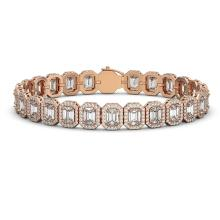 17.28 CTW Emerald Cut Diamond Designer Bracelet 18K Rose Gold - REF-3582Y4K - 42789