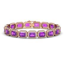 22.81 CTW Amethyst & Diamond Halo Bracelet 10K Rose Gold - REF-302F9N - 41418