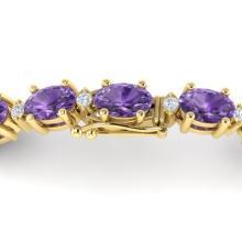 12 CTW Amethyst & VS/SI Diamond Eternity Bracelet 10K Yellow Gold - REF-72W5F - 21438