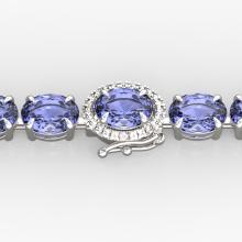 32 CTW Tanzanite & VS/SI Diamond Eternity Micro Halo Bracelet 14K White Gold - REF-328N9Y - 23440