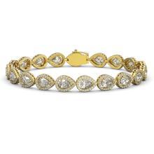 12.38 CTW Pear Diamond Designer Bracelet 18K Yellow Gold - REF-2270M4H - 42646
