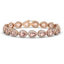 16.59 CTW Morganite & Diamond Halo Bracelet 10K Rose Gold - REF-388W2F - 41103