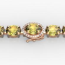 29 CTW Citrine & VS/SI Diamond Tennis Micro Pave Halo Bracelet 14K Rose Gold - REF-117A3X - 23419