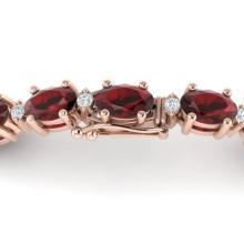 15 CTW Garnet & VS/SI Diamond Eternity Bracelet 10K Rose Gold - REF-74Y2K - 21450