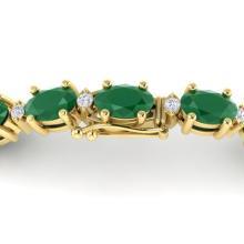 15 CTW Emerald & VS/SI Diamond Eternity Bracelet 10K Yellow Gold - REF-122N8Y - 21449
