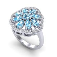 3 CTW Sky Blue Topaz & VS/SI Diamond Certified Cluster Halo Ring Gold - REF-52R2K - 20774