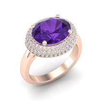 4 CTW Amethyst & Micro Pave VS/SI Diamond Certified Ring 14K Gold - REF-89Y8X - 20901