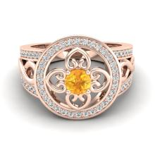 1 CTW VS/SI Diamond Certified & Citrine Micro Pave Designer Ring 14K Gold - REF-75A3N - 20846