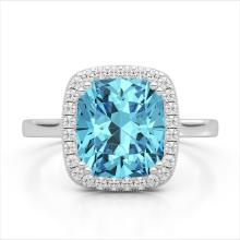 3.50 CTW Sky Blue Topaz & Micro VS/SI Diamond Halo Solitaire Ring 18K Gold - REF-48M9F - 22852