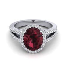 3 CTW Garnet & Micro VS/SI Diamond Certified Halo Ring 18K Gold - REF-67W3H - 20941