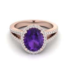3 CTW Amethyst & Micro VS/SI Diamond Halo Solitaire Ring 14K Gold - REF-58X2Y - 20926
