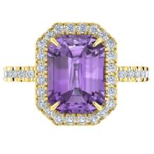 5.03 CTW Amethyst And Micro Pave VS/SI Diamond Halo Ring 18K Gold - REF-60A2N - 21418
