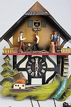 German Cuckoo Clock with Lumberjacks, Water Wheel