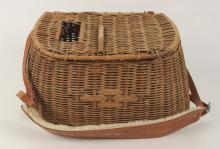 Wicker Fishing Creel with Leather Strap