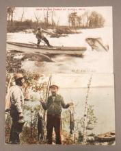 1909 Post Marked Fishing Cards from Michigan WOW!