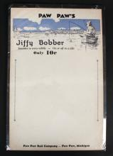 Vintage Paw Paw Jiffy Bobber Advertisement Card