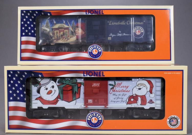 2 Lionel Christmas Boxcars in Original Boxes