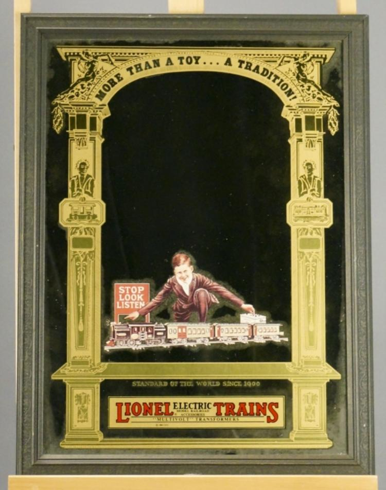 Framed Painted Lionel Advertising Mirror