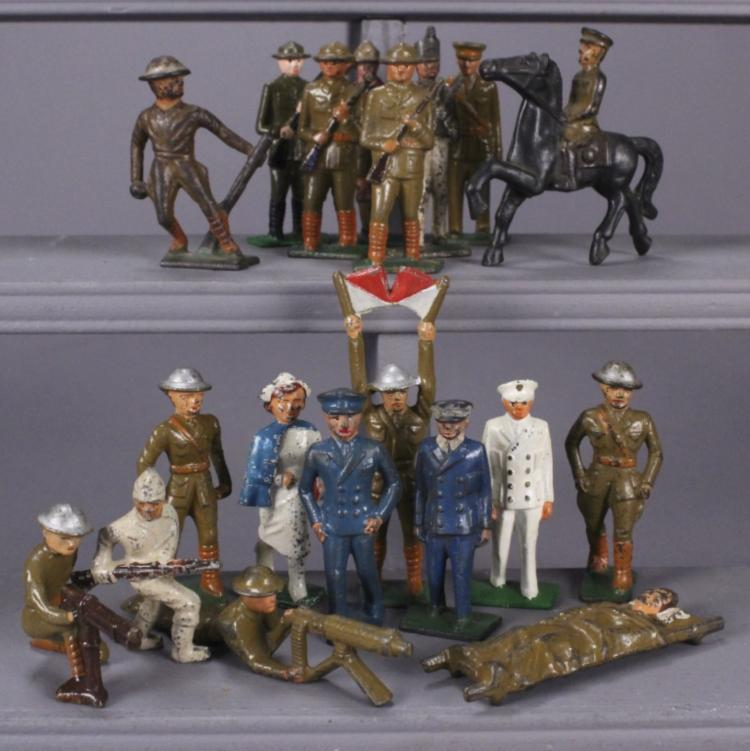 19 Grey Iron Assorted Military Figures